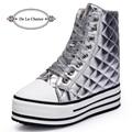 Nuevo de Las Mujeres Casual Zapatos de Cuero Botines Lace Up Plataforma Oculta Zapatos de Cuña Para Las Mujeres Aumento de la Altura Mujeres Zapatos de Invierno