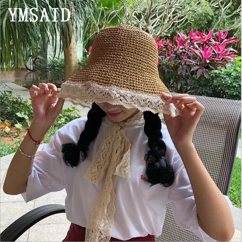 1a8ca461bcb Detail Feedback Questions about Ymsaid Fashion Women Summer Wide Brim Sun  Hat Handmade Lace Ribbon Bow Straw Hats Collapsible Women s Girl Seaside  Beach Cap ...