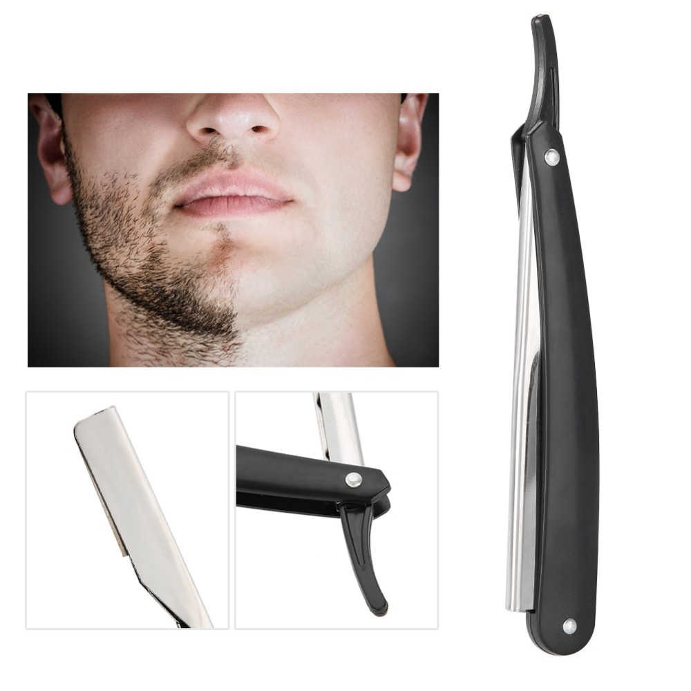 Barber Razor Straight Edge Hair Clipper Salon Folding Blade Razor With Blade Black Shaving Razor Tools Haircut