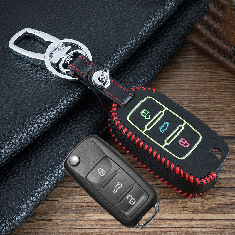 Image 3 - Hand sewing Luminous Leather car key cover case shell for VW Golf Bora Jetta POLO GOLF Passat For Skoda Octavia A5 Fabia SEAT-in Key Case for Car from Automobiles & Motorcycles