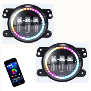 "Image 3 - Marloo סט RGB 7 ""Halo LED פנסים + 4 אינץ קדמי פגוש ערפל אורות מנורת עבור ג יפ רנגלר JK 2 דלת 4 דלת 2007 2017"