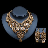 LAN PALACE turkish wedding jewelry sets Glass Rhinestone for bridal gold color necklace and earrings six colors free shipping