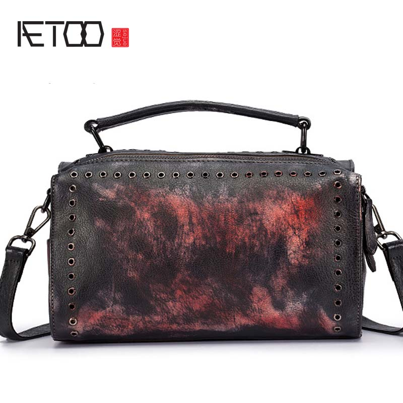 AETOO 2018 new Original hand-rubbed retro portable ladies messenger bag new first layer of personality leather pillow bag qiaobao 2018 new korean version of the first layer of women s leather packet messenger bag female shoulder diagonal cross bag