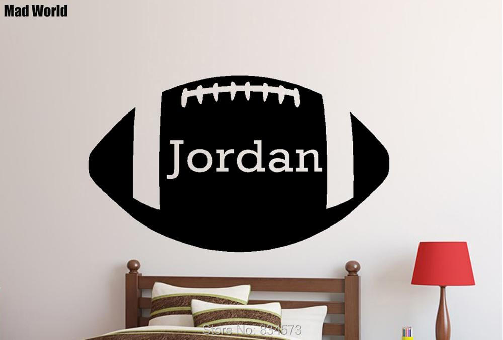 Mad World-Personalised Name Boys Name Football Wall Art Stickers Wall Decal Home DIY Decoration Removable Decor Wall Stickers