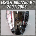 Double Bubble Windshield/Windscreen - Silver For Suzuki GSXR 600/750 K1 2001 2003 01 02