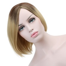 Short Natural Straight Wig Ombre Synthetic Hair 14'' Wavy Blonde Cosplay Wigs for White Women Toupee Heat Resistant Fiber HP-008