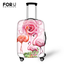 FORUDESIGNS Cartoon Luggage Cover Flower Flamingos Prints Pattern Travel Accessories Fashion Design Suitcase Cover Only Cover