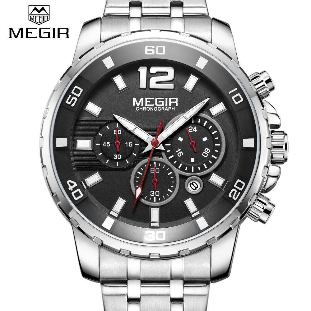 Men's Watches Luxury Brand New <font><b>MEGIR</b></font> Stainless steel Quartz watch Men Military Calendar Function Chronograph Waterproof Relogio image