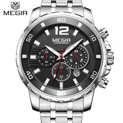 Men's Watches Luxury Brand New MEGIR Stainless steel Quartz watch Men Military Calendar Function Chronograph Waterproof Relogio