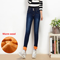 Women's winter warm fleece ultra-high waist jeans Female skinny stretch denim pencil pants Plus large size buttons long trousers