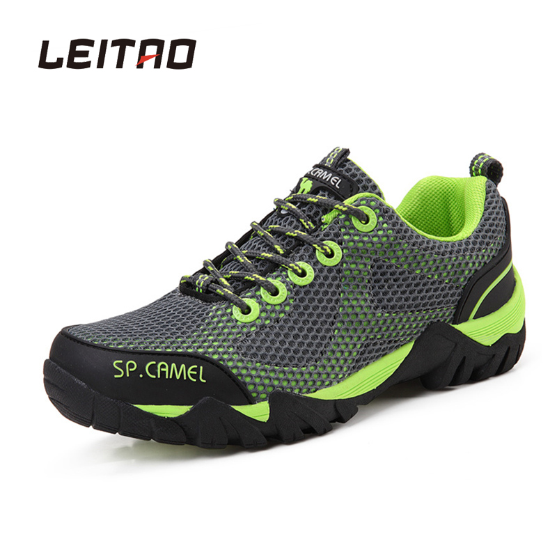 LEITAO Hiking Shoes Men Outdoor Mesh Breathable Sapatilhas Mountain Climbing Sports Shoes For Men Wear-resistant Camping Shoes camo breathable water resistant lace up high top mesh outdoor sports trekking hiking shoes men camping travel climbing sneakers