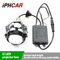 Free Shipping IPHCAR Car Styling Super Bright LED Projector Lens with White LED Angel Halo High Low Beam Bi LED Lens Headlight