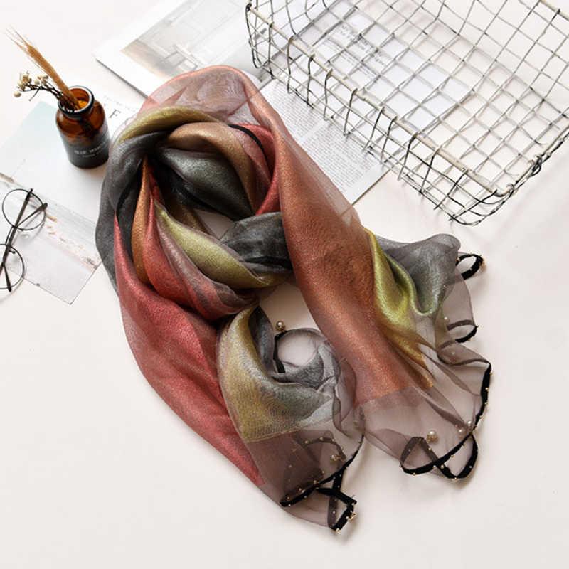 Gradiente di Marca Sciarpa di Seta Lunghe Sciarpe Con Perline Femminile Involucri di Seta di Modo Sciarpa Scialle Spiaggia di 180x70 centimetri Madre regalo