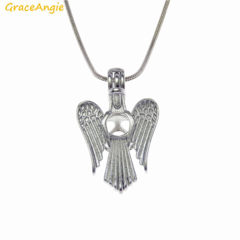 GraceAngie 1PC Sweet Angel With Wings Bead Cage Locket Pendant Necklace Fashion Women Prayer Jewelry Daily Fragrance Accessory