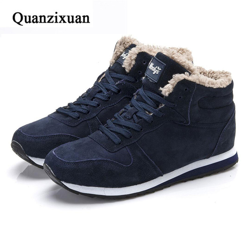 Men Boots Winter Snow Boots Fashion Ankle Boots Male 2017 Plush Warm Suede Black Shoes Men qiyhong brand waterproof winter warm snow boots men cow split leather motorcycle ankle fashion high cut male casual clearance