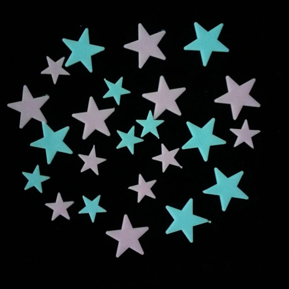 100pcs Home Wall Glow In The Dark Star Stickers Decal In Baby Kid Nursery Room