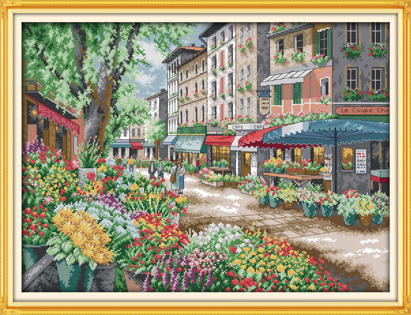 Joy Sunday Scenic Style Paris Flower Market Home Ornament Simple Modern Counted Cross Stitch Kits Online
