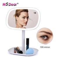Carica USB LED Specchio Per Il Trucco 360 gradi Girevole con 10X di Ingrandimento Touch Screen Vanity Piazza Supporto Da Tavolo Specchio Cosmetico