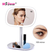 USB Charge LED Makeup Mirror 360 Degree Rotatable With 10X Magnifying Touch Screen Vanity Square Desk