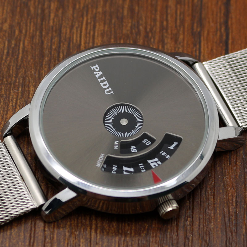 Silver Gray PAIDU Turntable Dial Quartz Wrist Watch Stainless Steel Mesh Band Free Shipping relogio masculino