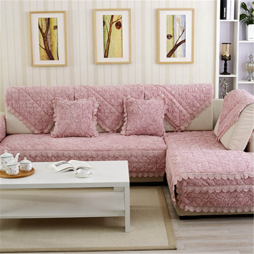 High Quality Plush Solid Sofa Covers Protector Slip
