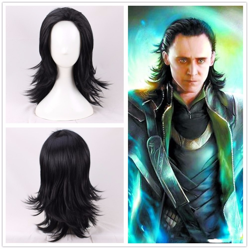Thor Loki Cosplay Wig Infinity War Black Long Hair Halloween Role Play for Unisex Adult Concert Party