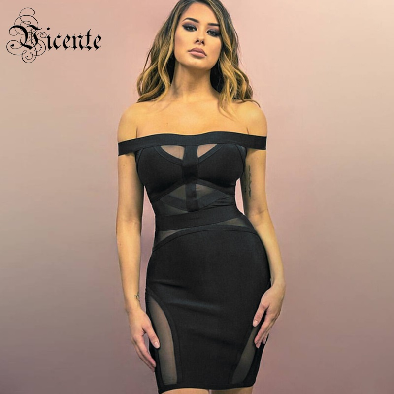Out Of Size Clearance Sale! Sexy Mesh Splicing Off the Shoulder Cocktail Party Wear Bandage Mini Dress