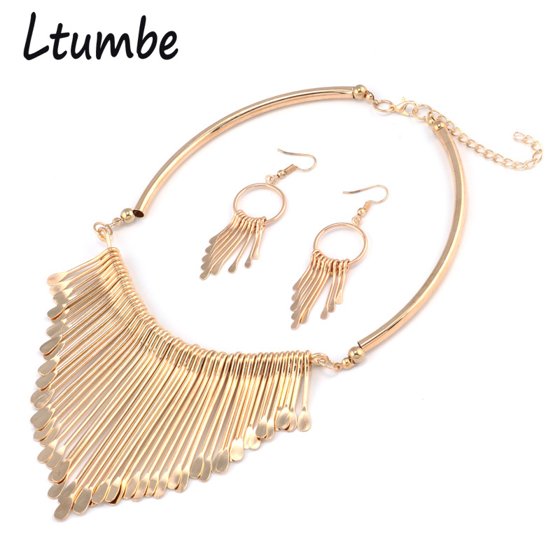 Ltumbe New Gold Silver Color Punk Alloy Geometric Tassels Statement Necklaces & Pendants For Women Ethnic Accessories Jewelry