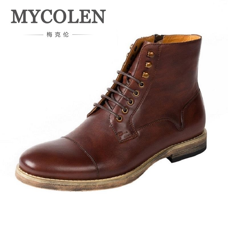 MYCOLEN 2018 Fashion Ankle Boots Winter Autumn Men Motorcycle Martin Boots Genuine Leather Comfortable Men Boots Chaussure Homme