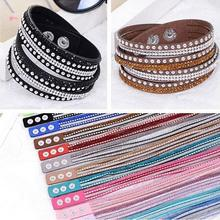 New foreign Aliexpress sell fashion and personality, selling leather flannelette hot drilling and multilayer bracelet