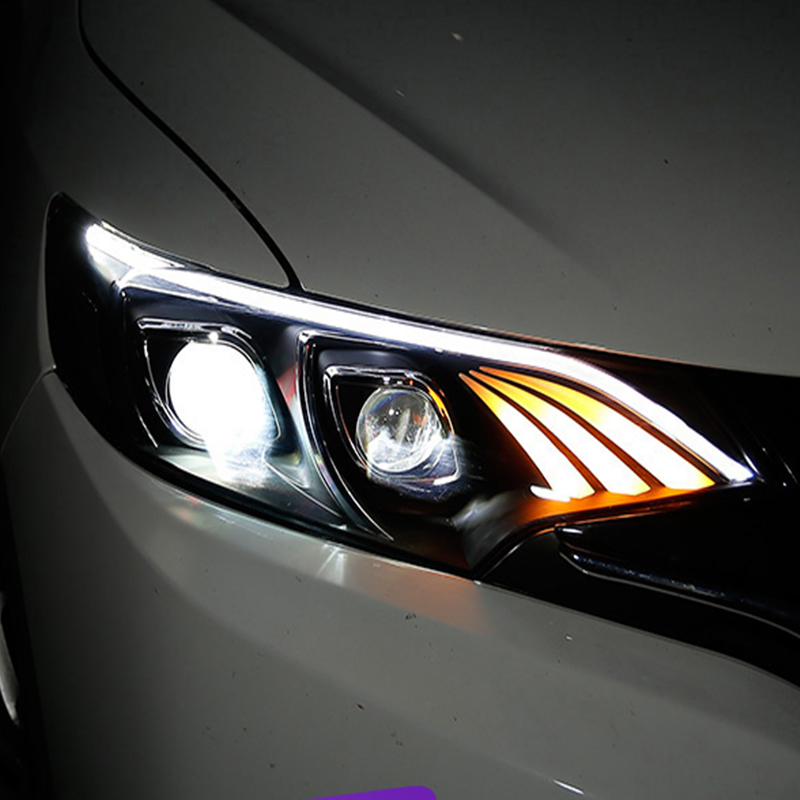 Car Styling For Honda Fit JAZZ 2014 2017 LED Car Headlight Assembly LED Demon Eyes DRL