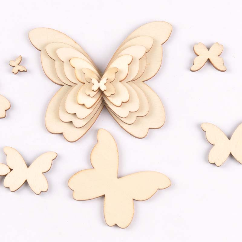 Mixed Butterfly Wood Slices DIY Crafts Handmade Accessories Unfinished Wooden Charms Pendant Home Decor Arts 10-80mm M1963