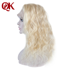 QueenKing hair Brazilian Human Hair Full lace wigs 613 Natural Wave Remy Preplucked For Black Women Bleached knots
