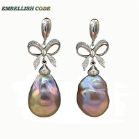 baroque pearls Bowknot style noble dangle earrings purple golden color flame ball tissue freshwater pearl 925 silver for women