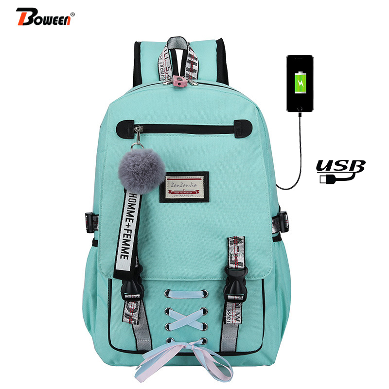 green School Bags for Girls Women Bag for School Backpack USB Teenage Nylon Solid Teen Schoolbag Girl Black Large Capacity New(China)