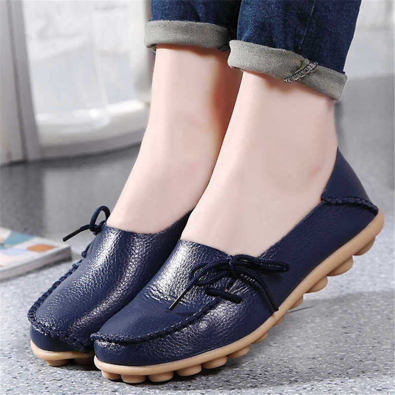 2019 Fashion Genuine Leather Women Flats Shoes Female Casual Flat Women Loafers 18 Color Women's Casual Ballerina Shoes