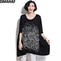 DIMANAF Plus Size 2018 Summer T Shirt Women Print Batwing Sleeve Big Size Fashion Casual Basic