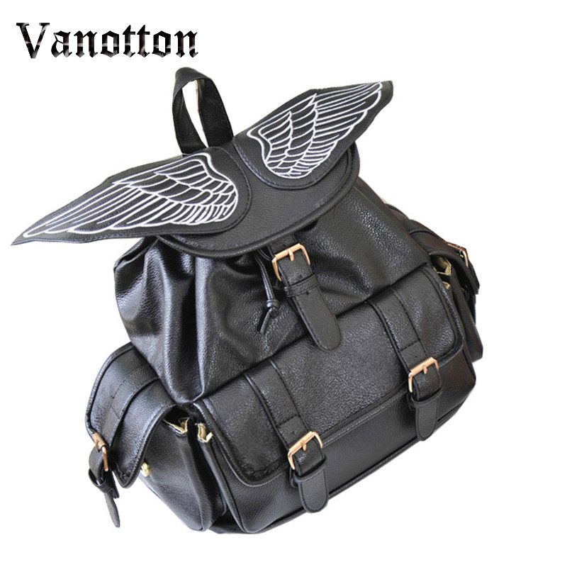 Women Leather Backpack School Bags PU Leather Large Capacity Angel Wings Backpack Vintage Style Bolso Mochila