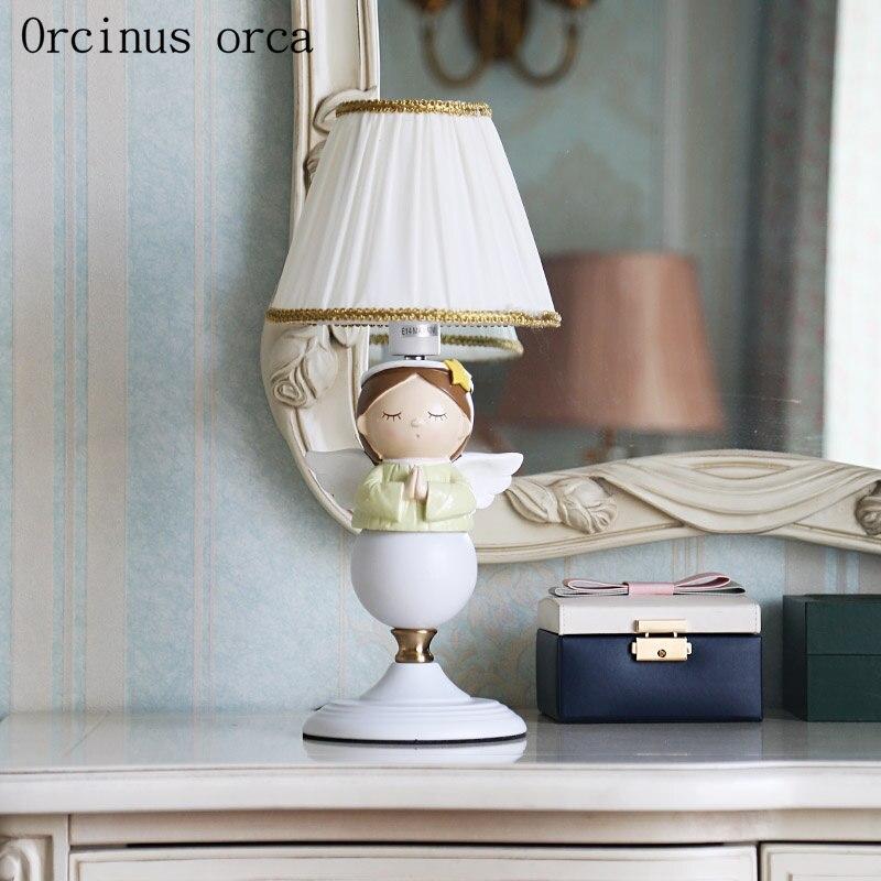 Мультфильм вдохновение Ангел настольная лампа для девочек спальня детская комната настольная лампа Американский персонасветодио дный ж С