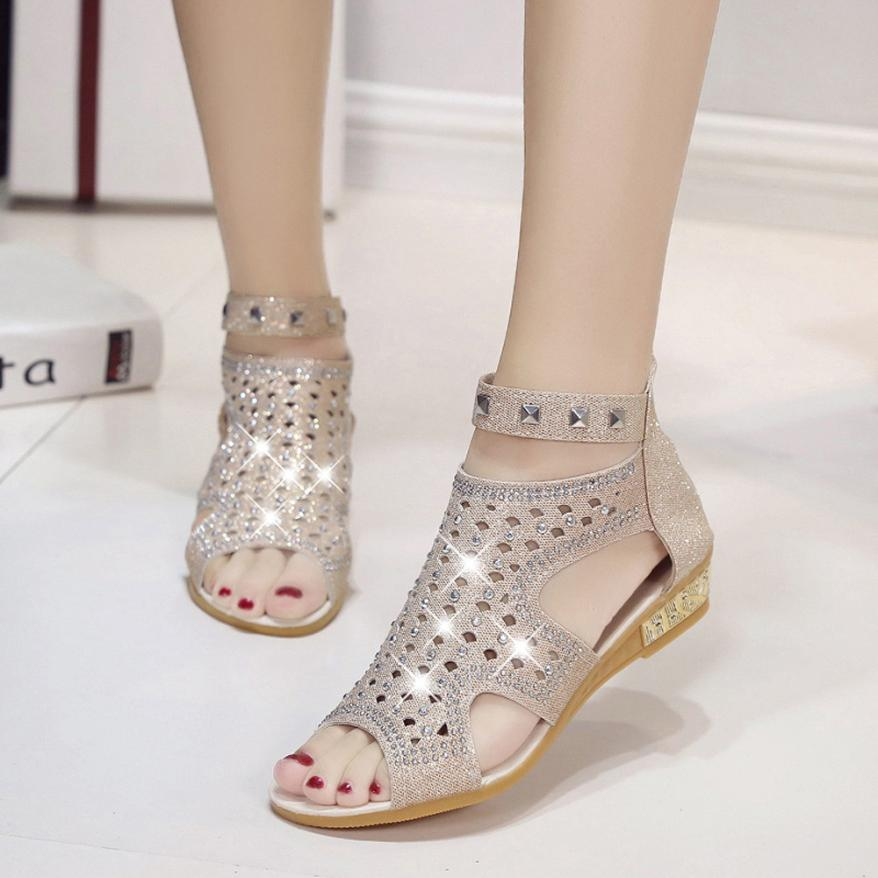 Women Sandals Roma-Shoes Sommer Diamond Fashions Hollow with for Schuhe Damen