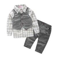 3pcs Set Baby Boy Clothes Newborn Gentleman Baby Clothing Shirt Vest Pants Baby Boy Clothing