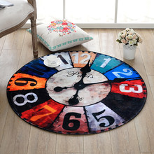 Quality Coral Velvet Material Retro Number Clock Pattern 3D Vision Round Rug Computer Chair Rug Living Room Bedroom Rug(China)