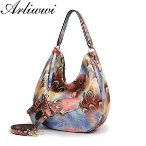 Image 2 - Arliwwi Brand Elegant Shiny Women Handbags Hobos Rainbow Shoulder Bags Female Big Tote Colorful Feature Cross body Bag PY02