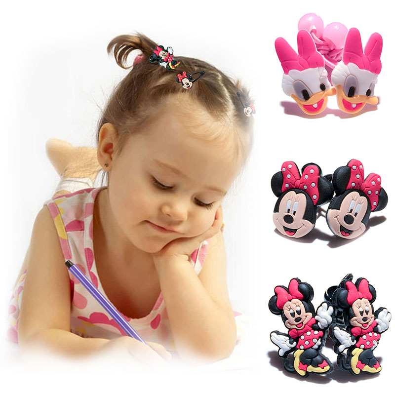 1-5pairs Mickey Minnie Hot Cartoon Hairpins Barrettes Kids Headwear Multicolor Hair Ropes Hair Travel Accessories