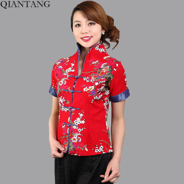 a543a6bf233b Hot Sale Red Traditional Chinese Blouse Women Cotton Linen Shirt Top V-Neck  Short Sleeves Clothing Size M L XL XXL XXXL Mnys01B