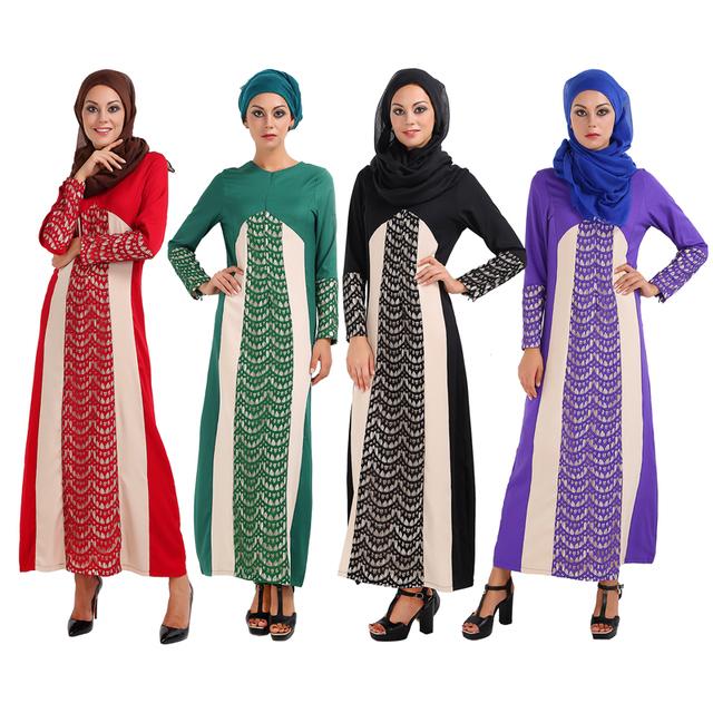 Nuevo Vestido Abaya Musulmán Islámico Turquía Mujeres atan Empalme vestidos de fotos ropa jilbab turco ropa burka femenino