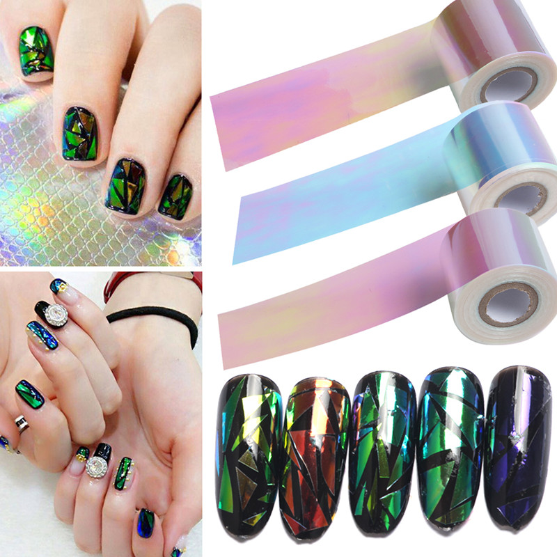 1 Roll 100m*5cm DIY Shiny Laser Holographic Broken Glass Nail Foil Paper Beauty Nails Sticker Art Manicure Accessories 5cm 100m new holographic shiny laser 20 colors nail transfer foil sticker broken glass nail art beauty transfer foil