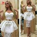 Lindo Laço Branco Árabe Barato Bainha Elegantes Vestidos de Coquetel Querida Plissadas Curto Prom Abendkleider 2016 Robe De Soirée