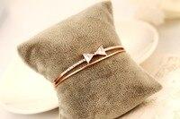 # Criativo clássico Moda Preto trançado corda pode ser ajustado pulseira Arco cadeia pulseira de alta qualidade pulseira de ouro rosa mulheres