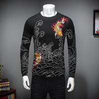 Pullover Knitted Sweater Men 2018 Autumn Winter Lucky Cloud Printing Men jumper Sweaters Long Sleeve Men Clothing 109